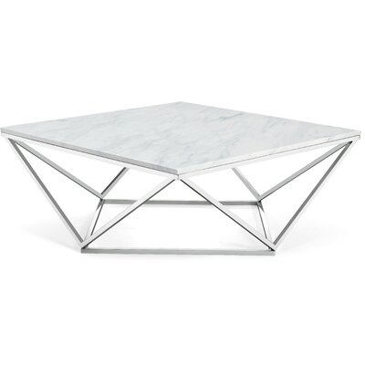 Robeson Marble Coffee Table Table Base Finish: Chrome