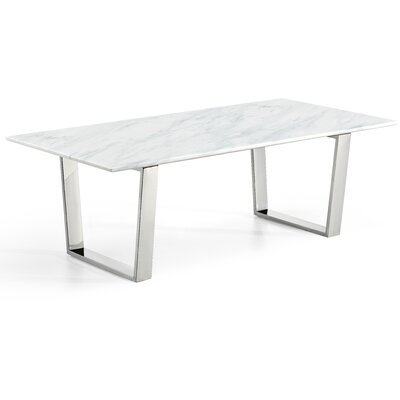 Germana Marble Coffee Table Table Base Color: Silver