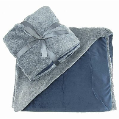 Alderwood Reversible Ultra Plush Fleece Throw Color: Denim