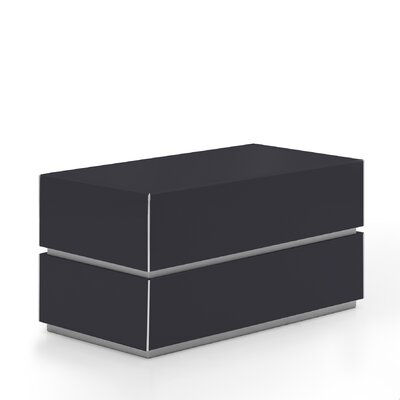 Potenza 2 Drawer Nightstand Color: Glossy Dark Grey