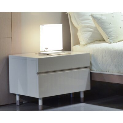 2 Drawer Nightstand Color: Glossy Beige