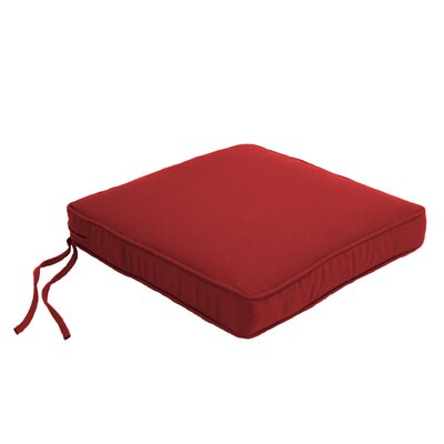 Everyday Double Piped Outdoor Dining Chair Cushion Fabric: Jockey Red