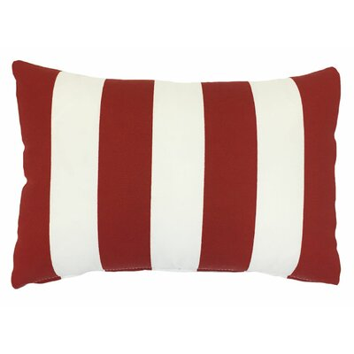 Piped Zip Outdoor Lumbar Pillow Color: Finnigan Cherry