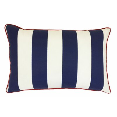 Piped Zip Outdoor Lumbar Pillow Color: Finnigan Indigo