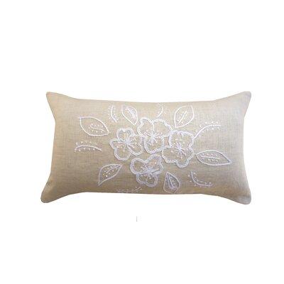 Riviera Hand Embroidered Linen Lumbar Pillow