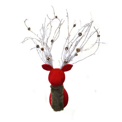 Knit Deer Mount with Flocked Antlers and Faux Fur Neck THLY3592 44745862