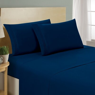 Luxe Home Collections 1500 Series Premium Microfiber Bed Sheet Set - Color: Navy Blue, Size: Twin