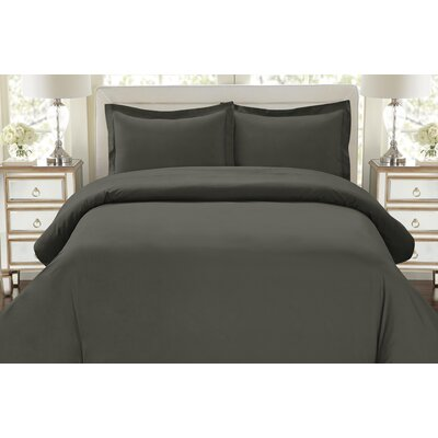 Galatee 3 Piece Duvet Set Color: Gray, Size: King