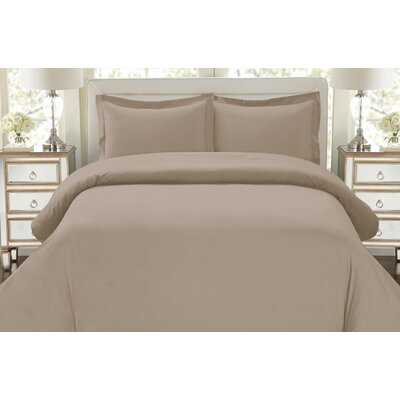 Galatee 3 Piece Duvet Set Color: Taupe, Size: King