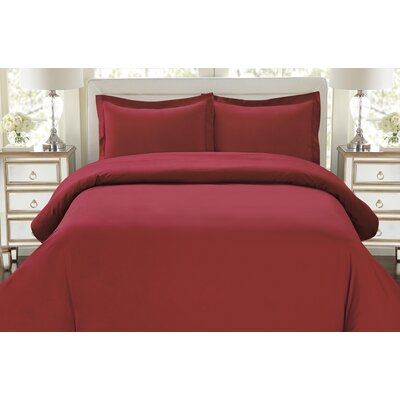 Galatee 3 Piece Duvet Set Color: Burgundy, Size: King