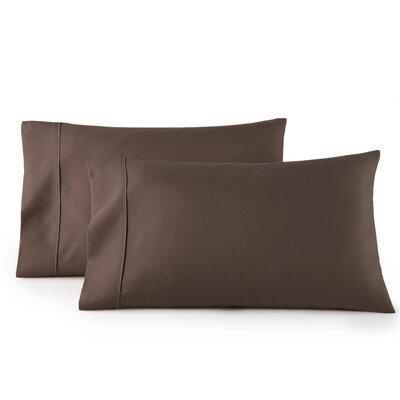Pelham 1500 Thread Count Pillow Case Size: Standard, Color: Brown