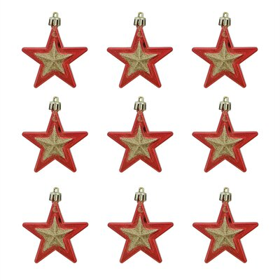 Glittered Shatterproof Star Christmas Ornament Color: Red/Gold