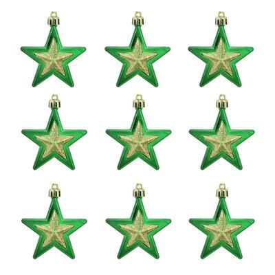 Glittered Shatterproof Star Christmas Ornament Color: Green/Gold