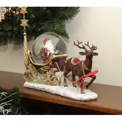 Santa Claus Sleigh and Reindeer Glitterdome Snow Globe Christmas Decoration