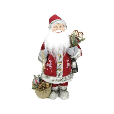 Old World Standing Santa Claus Christmas Figure with Snow Shoes and Lantern C84427