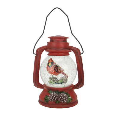 Musical LED Lighted Christmas Lantern with Cardinal Snow Globe Glitterdome Decoration