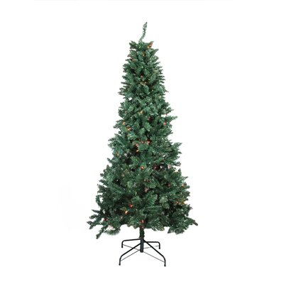 9' Slim Pine Artificial Christmas Tree with Multi-Color Lights