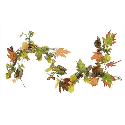 Autumn Harvest Mixed Leaf, Berry Cluster and Acorn Artificial Thanksgiving Garland