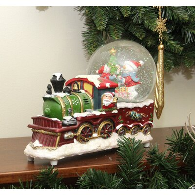 Santa Claus Train with Snowman Snow Globe Christmas Decoration
