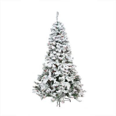 9' Heavily Flocked Pine Medium Artificial Christmas Tree with Multi Lights