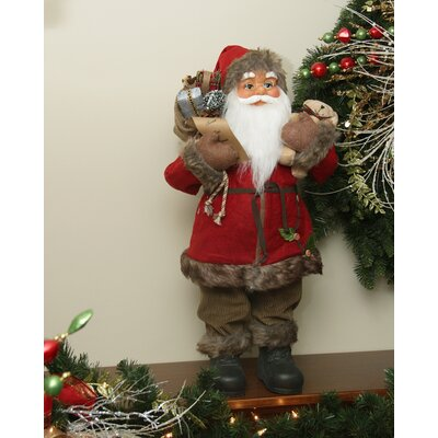 Standing Santa Claus Christmas Figure in Holly Berry Coat with Corduroy Pants C84406