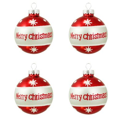 Merry Christmas Glittered Glass Ball Christmas Ornament Q30902