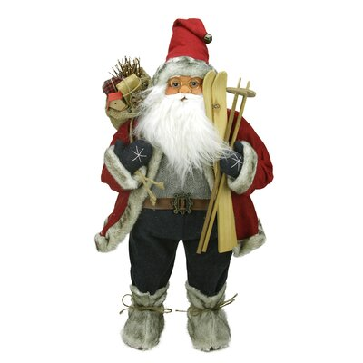 Sporty Skiing Standing Santa Claus Christmas Figure with Burlap Gift Bag C84431