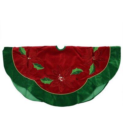 Sequined Poinsettia Christmas Tree Skirt with Velveteen Trim