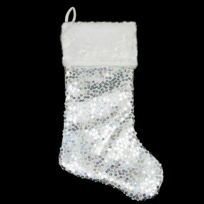 Holographic Sequined Christmas Stocking with Faux Fur Cuff Color: Silver