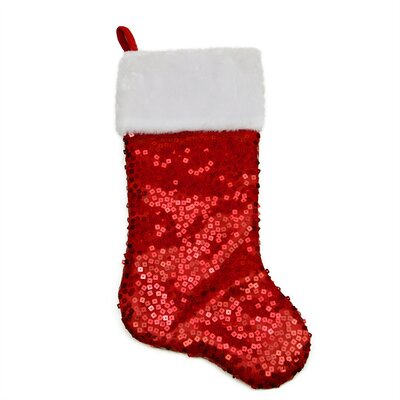 Holographic Sequined Christmas Stocking with Faux Fur Cuff Color: Red