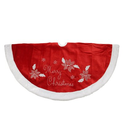 Embroidered Velveteen Poinsettia Merry Christmas Tree Skirt with Faux Fur Trim