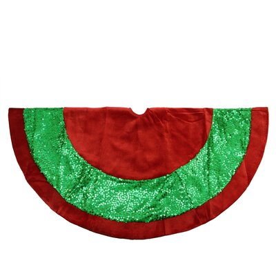 Holographic Sequined Christmas Tree Skirt with Velveteen Trim