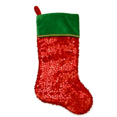 Holographic Sequined Christmas Stocking with Velveteen Cuff Color: Red/Green