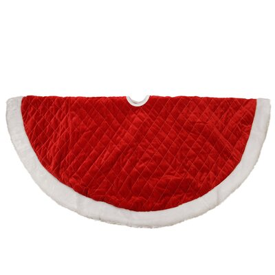 Traditional Quilted Velveteen Christmas Tree Skirt with Faux Fur Trim