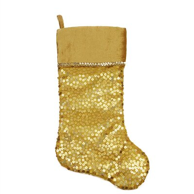 Holographic Sequined Christmas Stocking with Velveteen Cuff Color: Gold/White