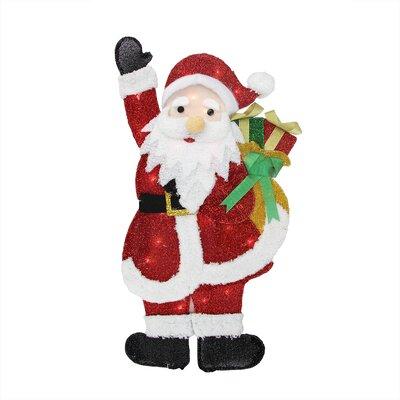 Tinsel Waving Santa Claus with Gift Christmas Decoration
