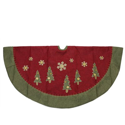 Natural Christmas Tree Skirt with Blanket Stitching Trim