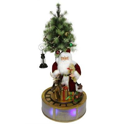 LED Santa Claus with Tree and Rotating Train Christmas Decor