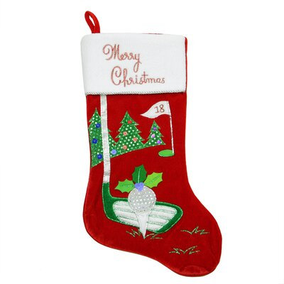Velveteen Golf Themed Christmas Stocking with Embroidered Cuff L48524