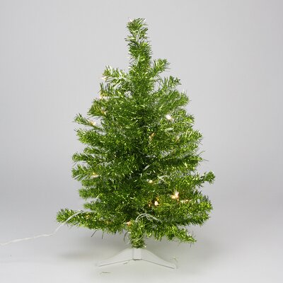 2' Lime Green Iridescent Pine Tinsel Artificial Christmas Tree - Clear Lights