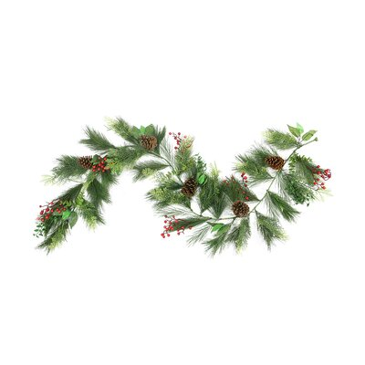 Long Needle Pine, Berry and Pine Cone Artificial Christmas Garland