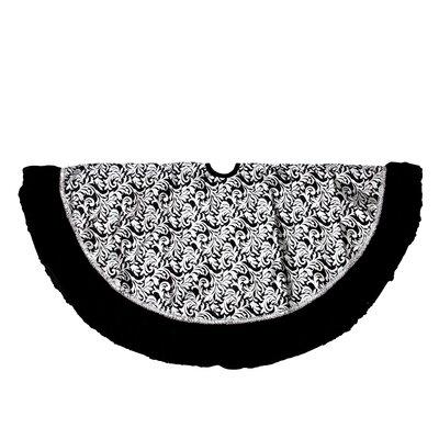 Metallic Flourish Christmas Tree Skirt with Venetian-Style Ruffled Trim