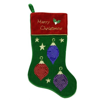 Embroidered Velveteen Christmas Ornament Stocking with Cuff