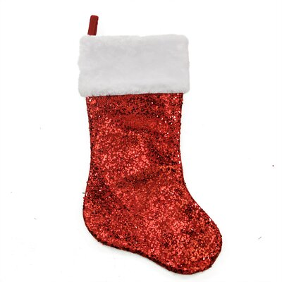 Holographic Sequined Christmas Stocking with Faux Fur Cuff