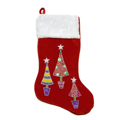 Embroidered Velveteen Christmas Tree Stocking with Faux Fur Cuff