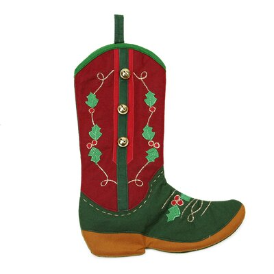 Holly Berry and Jingle Bell Cowboy Boot Christmas Stocking L51044