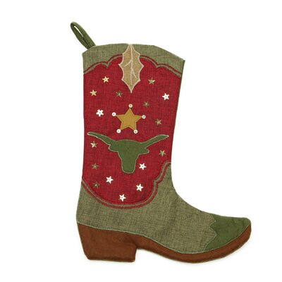 Cowboy Boot Christmas Stocking with Bull Silhouette L51300