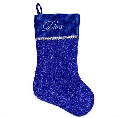 Metallic Embroidered Diva Christmas Stocking with Shadow Velveteen Cuff
