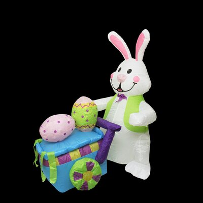 Inflatable Easter Bunny Push Cart Decoration
