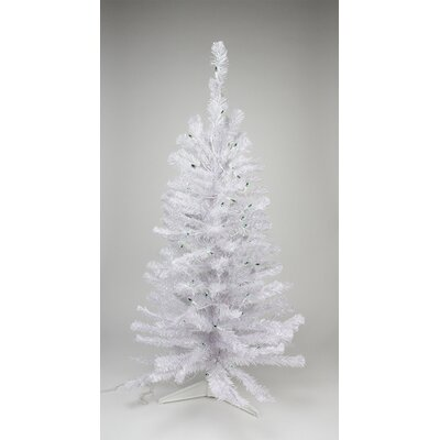 2' White Iridescent Pine Artificial Christmas Tree with Green Lights